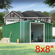 8 X 8FT New Garden Shed Metal Apex Roof Outdoor Storage With Free Foundation VN
