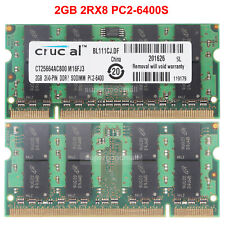 For Crucial 2GB 2RX8 PC2-6400S DDR2-800MHz 200PIN 1.8V SO-DIMM Laptop Memory