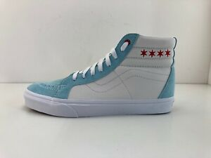 Men Vans SK8-HI Reissue Chicago Skate Shoes Clearwater Blue White Red Windy City