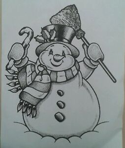 Happy Snowman small unmounted rubber stamp
