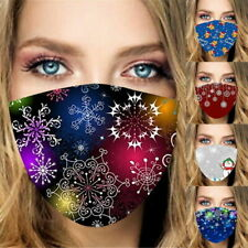Reusable Washable Breathable Face Mask Cover With Snowflakes Christmas Print