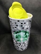 Starbucks 2012 Minecraft RODARTE Pixels Ceramic Travel Tumbler 12oz Mug w/Lid