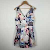 Portmans Womens Dress 12 Multicoloured Floral Sleeveless Zip Closure V-Neck