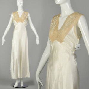 Small 1930s Bridal Nightgown Satin Lingerie Lace Tie Back Waist Honeymoon VTG