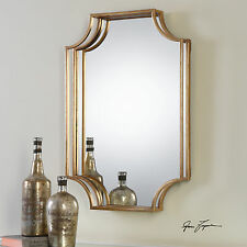 """NEW 30"""" STATELY ANTIQUED GOLD LEAF METAL WALL MIRROR MODERN DIMENSIONAL FRAME"""