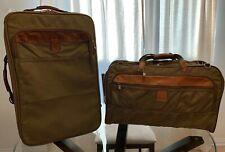 "Vintage Hartmann 22"" Wheeled Khaki Nylon Belting Luggage Carryon with Duffle Bag"