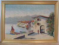 IMPRESSIONISM HARBOR SCENE OIL PAINTING WITH BOATS, MOUNTAIN, LAKE 1960s SIGNED