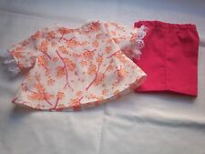 "American Made 18"" Girl Doll Clothes Orange Flowers on White Top Hot Pink Shorts"
