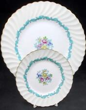 Minton ARDMORE IVORY TURQUOISE Dinner Plate + Bread & Butter S363 GREAT COND