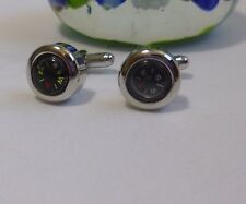 Silvered solid brass France style Compass Cufflinks Dia 14mm