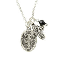 Lovely Silvertone St. Benedict Medal + Four Way Cross + Black Facet Gem Pendant