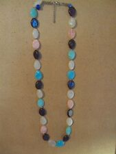 """long vintage white pink brown blue green opaque oval bead 34 to 36"""" necklace"""