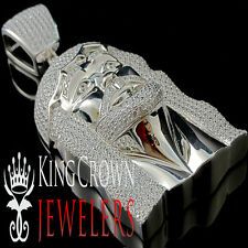 10K White Gold Silver Lab Diamond Jesus Face Custom Piece Pendant Big XL 4 Inch