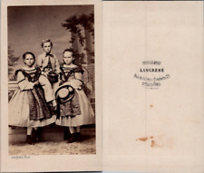 Langrené, Strasbourg, Trois enfants en pose, circa 1870 CDV vintage albumen - De