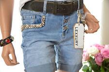 Lexxury Jeans kurze Hose Short Hotpants Perlen Pailletten blau XS 34 Neu Italy