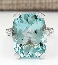 New Fashion Women 925 Sterling Silver Aquamarine Solitaire Ring Wedding Jewelry