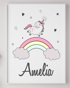 Personalised Unicorn Poster Print Picture Gift Nursery Kids Playroom A4 PR237