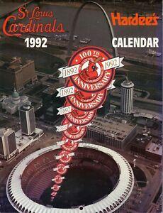 St Louis Cardinals--1992 Calendar/Schedule--Hardee's