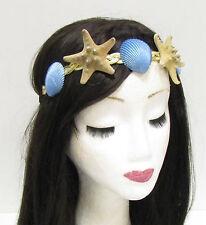 Gold crème bleu véritable étoile de mer mer shell serre-tête cheveux couronne mermaid costume 810