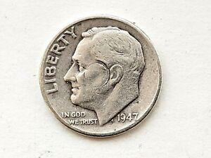 1947 USA - Silver Dime - Bright & Good Grade - Very Collectable .