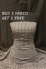 Small Black White Gingham Cotton Uniform 'Woven' Dress-Making Fabric Material