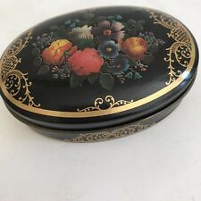 "VTG Primative Covered Tin Trinket Dish w/ Lid Made in England 3.5"" #c0"