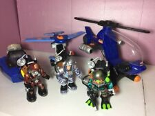 FP Rescue Heroes Lot 3 Figures & Blue Rescue Helicopter, & Vehicles.