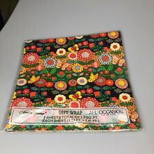 Vintage American Greetings Gift Wrap All Occasion Flora Sheets-2 Sheets Sealed