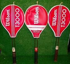 Vintage Wilson T3000 Tennis Racquets Lot of (3) with Covers & Gut Strings