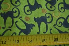 By 1/2 Yd, Black ;Cats on Lime Quilting, Studio-e/Spookyville/Miner/1487 M9084