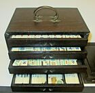 Antique Mah Jong Set in Wood Case 148 Bovine and Bamboo Tiles etc - Wing On Co.