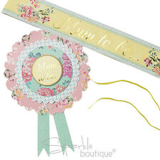 Mum-To-Be Rosette AND Sash SET  - Vintage Style - Unisex Baby Shower Accessories