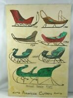 """VINTAGE MID CENTURY HAND PAINTED FOLK ART """"AMERICAN CUTTERS"""" 1780'S TO 1850'S"""