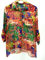 Woman Size Large Multicolor Button Down Top 3/4 or Long Sleeve EUC (S300-H9)