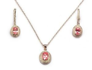 1920s Style 925 Sterling Silver Set Simulated Brilliant Pink & White Diamonds