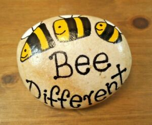 Pebble art and craft.Hand painted rocks, stones, 'Bee different', unique gift.