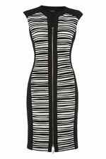 Cocktail V Neck Stretch, Bodycon Striped Dresses for Women