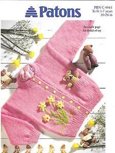 Patons 4963 Vintage Baby Knitting Pattern DK 1-7 years Girls Cardigan & Teddy