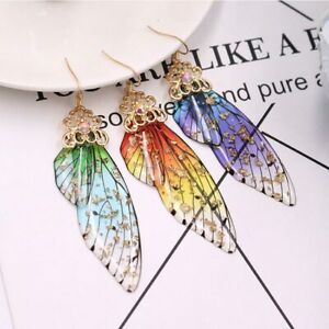 Butterfly Wing Drop Dangle Earrings Crystal Rhinestone Colorful Resin Women Gift