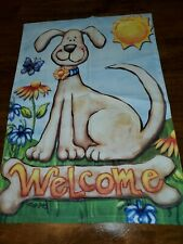 Outdoor Garden Flag Welcome Dog Puppy 12 X 18