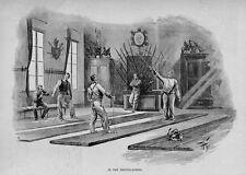 FENCING SCHOOL SWORD WEAPON SPORT 1893 ANTIQUE ENGRAVING IN THE FENCING SCHOOL