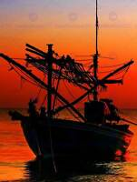SILHOUETTE FISHING BOAT SUNSET RED SKY PHOTO ART PRINT POSTER PICTURE BMP2140B