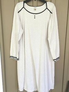 EUC Calida Switzerland Ivory Red Black Long Sleeve Nightgown Small 35108