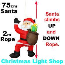 75cm Air Power SANTA Moves UP DOWN 2m Rope Outdoor Christmas Inflatable Display