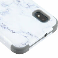 For Samsung Galaxy A10E HYBRID Shockproof Armor Rugged Hard Cover Marble Case