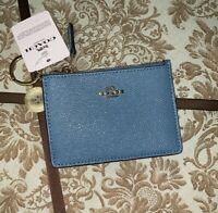 Coach Dark Pacific Blue Mini Skinny ID Wallet, Card Case, Key Fob NWT 57841