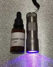 30ML CRYSTAL REPAIR UV RESIN, GLUE FOR GLASS, METAL, FURNITURE + 12 LED UV TORCH