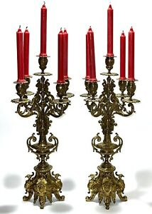 Majestic Pair Antique 18C French Louis XVI Grand Candelabra With 5 Branches Each