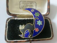 VINTAGE ENAMEL BLACK CAT AND THE STARS AND MOON BROOCH SHAWL PIN