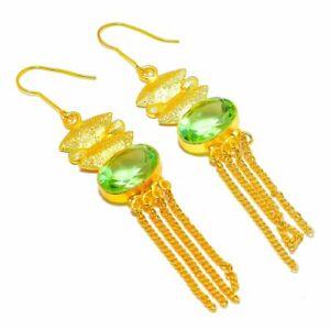 "Green Amethyst Gemstone 18KT Gold Overlay Silver Jewelry Earring E-48 1.8"""